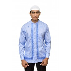 Baju Koko Bordir Panjang Light Blue 888128