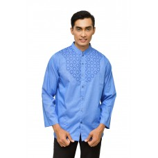 Baju Koko Bordir Panjang Blue Check White 888138