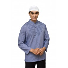 Baju Koko Bordir Panjang Navy Check White 888139